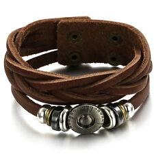 Mens Button Brown Genuine Leather String Wristband Bracelet Brozen Surfer