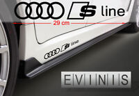 AUDI RINGS SLINE x2 Side Stickers Car Decals Graphics DEFAULT BLACK