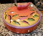 EUC Clay Art Chili Fiesta Tortilla Warmer Hand Painted Stonelite Casserole Dish!