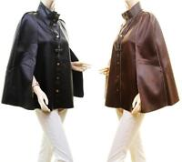 Women Gothic Military Cape Steampunk Faux Leather Goth Fur Poncho Coat Jacket