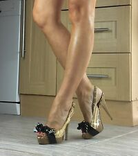 Moda In Pelle  Size 3, Leather Snake Print Peep-toe Slingback Heels