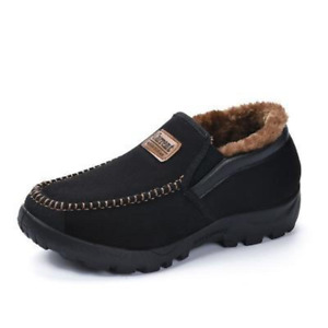 Mens Moccasins Slippers Loafers Faux Fur Sheepskin Fur Lined Winter Shoes US7-13