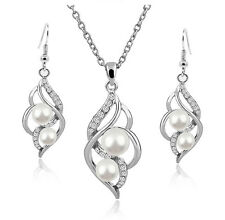 Weddings Bridal Jewellery White Floating Pearls & Silver Earrings Necklace S826