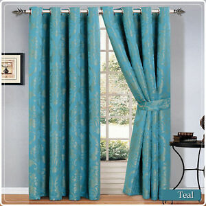 Bedroom Eyelet Ring Top Jacquard Curtains Fully Lined Ready Made Curtain Pair