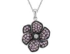 Criado Safira Rosa & Pingente Flor De Diamante 1 Ct Em Prata Esterlina