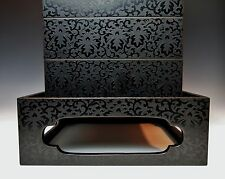 Antique Japanese Stacking Storage Box 1800s Meiji Lacquer Jubako Bento Desk