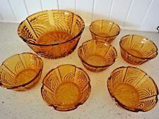 Vintage Art Deco Amber Depression Glass 7 Bowl Set