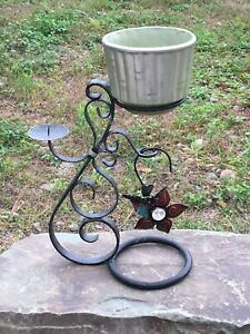 Wrought Iron Candle And Ceramic Planter Stand