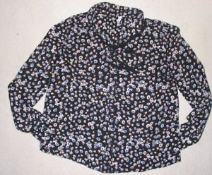 Womens Bershka Black Floral Print Long Sleeve Blouse Size Small