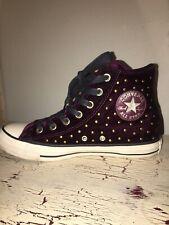 Converse Chuck Taylor All Star Sangria Velvet Studs High Top Sneakers Sz 8 Mint!