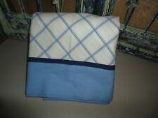 TOMMY HILFIGER BLUE & BLACK WINDOWPANE PLAID TWIN/TWIN XL FLAT SHEET BOYS 66X96