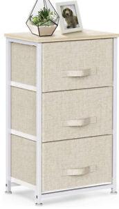 3 Drawer Fabric Dresser Storage Tower, Dresser Chest with Wood Top, Organizer