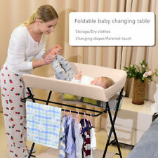 Beige Baby Changing Table Portable Folding Infant Diaper Station Nursery Storage