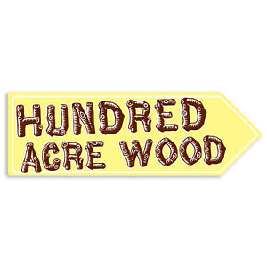 Metal Wall Sign - Hundred Acre Wood Winnie The Pooh A. A. Milne Arrow Plaque