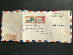 CURACAO 1940s WILLEMSTAD REGISTERED COVER TO HOLLAND