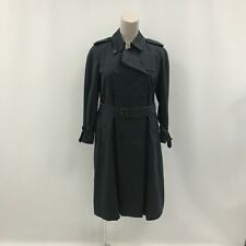 Burberry's Trench Coat Size UK16 Petite Long Navy Blue Buttoned Collared 341738