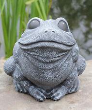 Steinfigur Frosch sitzend Schiefergrau Steinguss frostfest Gartenfigur Dekofigur