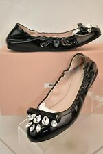 c5f198a7fd6 MIU MIU by PRADA NERO Black Patent Leather Crystals Jeweled Bow Flats 41