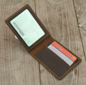 driver license certificate card cow Leather case bag holder handmade brown z880