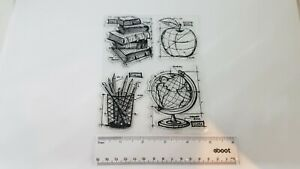 Unbranded Clear Stamp Schoolhouse Blueprints Books Apple Sketch Art World Globe