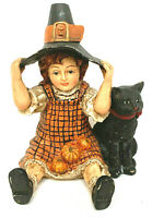 Rare Bethany Lowe Litle Witch With Black Cat Trick Or Treat Figurine