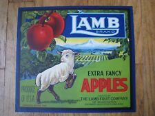Original RARE 1920s LAMB apple crate label Yakima, Washington - sheep - wool