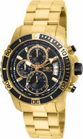 Invicta Men's Pro Diver Chrono 100m Gold Stainless Steel Black Dial Watch 22414