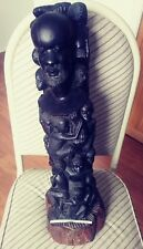 "Antique African 22"" Tree Of Life Ebony Makonde Carved Art Wood Sculpture"