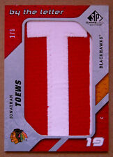 "2008-09 JONATHAN TOEWS UD SP GAME USED ""BY THE LETTER"" GAME USED ""T"" PATCH 1/5"