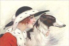 Borzoi Dog & 1936 High Fashion Woman ~ Large New Blank Note Cards