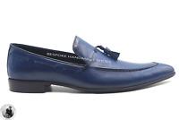 Mocassins en cuir bleu véritable faits à la main pour hommes