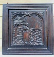 """GRANDE boiserie,panneau ancien bois sculpté  """"art breton """" 57 x  57 cm  (115)"""