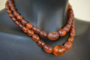 Vintage Natural Amber Baltic Stone Oval Beads Necklace  Old Cognac Color 琥珀项链