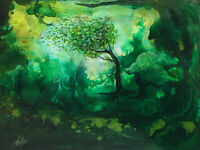 "Acrylic Painting Green Wind Trees Original Landscape 9"" x 12"""