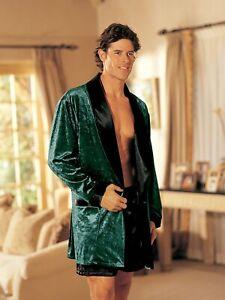 Shirley of Hollywood Men XL Green Velour Robe Smoking Jacket Designer Nightwear