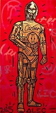Alec Monopoly Oil Painting on Canvas HUGE Urban art Star Wars C-3PO 24x48""