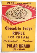 Vtg Chocolate Fudge Ripple Ice Cream Advertising Sign / Poster / Lithograph