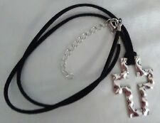 """Black Suede Cord Hammered Silver Cross 10"""" Necklace 2-1/2"""" Silver Extender NWT"""