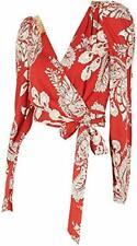 T.D.C. Topson Women's Surplice Paisley Cropped Wrap Top (Red, M)