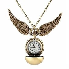 Harry Potter Golden Snitch Watch Necklace Quidditch Pocket Clock Pendant Steampu