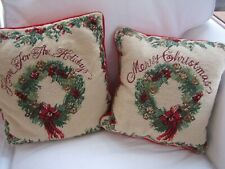 Imperial Elegance Wool Needlepoint Pillow Accent Merry Christmas Home Holidays