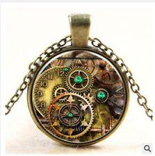 MetalPunk Steampunk Gears Clock Watch-Face Glass Art Pendant Chain Necklace