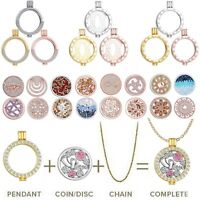 2019 Womens Ladies MY Coin Mi Crystal Disc Charms Locket Necklace DIY Jewellery