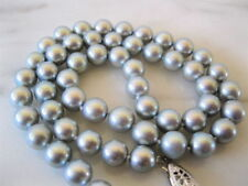 AAA 9-10mm Natural Tahitian Gray Pearl Necklace 14k White Gold 18 Inch