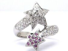 Diamonds 0.50ct.Colour G-Vs1 & Rubies 0.08ct.18K. White Gold Size P Ring