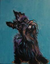 Scottish Terrier III Dog I  Art  ABSTRACT  Art 8 x 10 Acrylic Original CJ lee