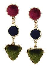 Green Black Velvet Trend Studs New Ella Jonte Long Earrings Gold Red