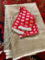 Silver Uppada Silk Saree With Red Blouse & Fall Stitched Size 34-40-USA Seller