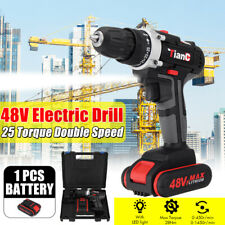 48V Cordless Drill 2 Speed Electric Screwdriver Wireless Power Driver+1