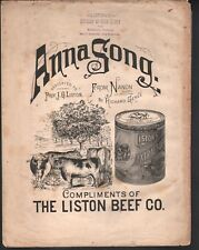 Anna Song 1885 Advertising Liston Beef Co Large Format Sheet Music